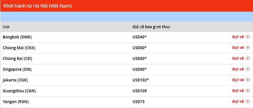 Giá vé ưu đãi khởi hành từ Hà Nội Thai Lion Air