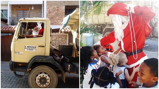Coletores de lixo fazem surpresa para crianças da creche Casarão em Cordeiro