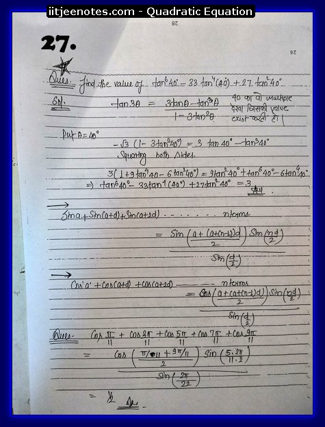 maths class 11 notes quadratic equation8