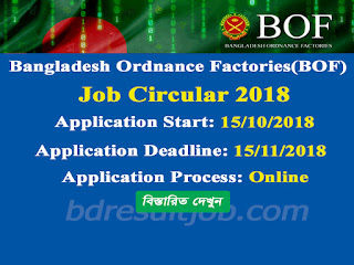 Bangladesh Ordnance Factories(BOF) Job Circular 2018