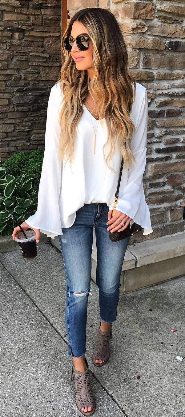 white blouse + bag + skinnies