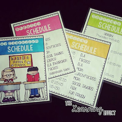 Daily classroom schedule signs