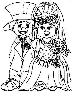 Fun Coloring Pages: Wedding Coloring Pages - Bride and Groom