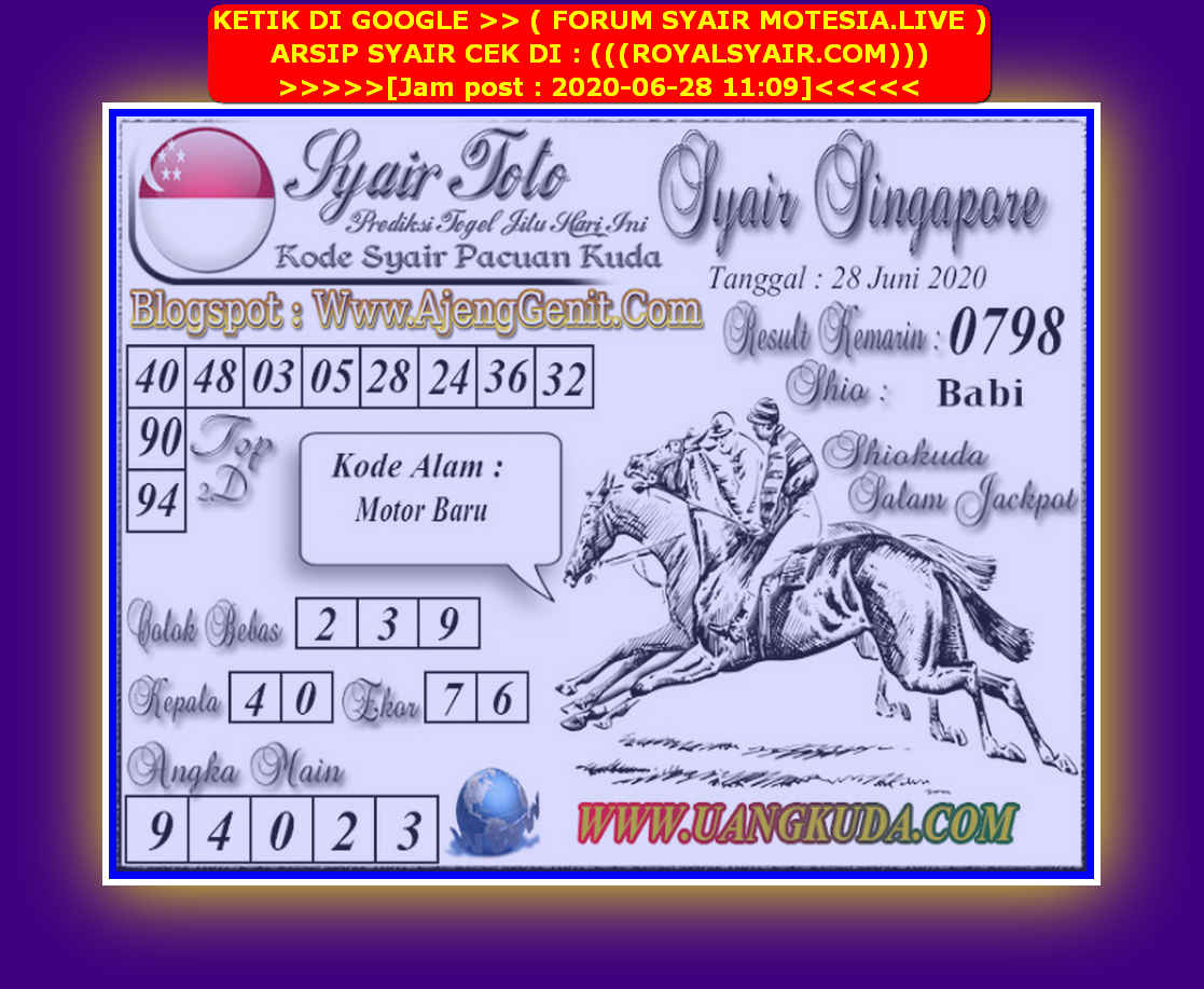 Kode syair Singapore Minggu 28 Juni 2020 145