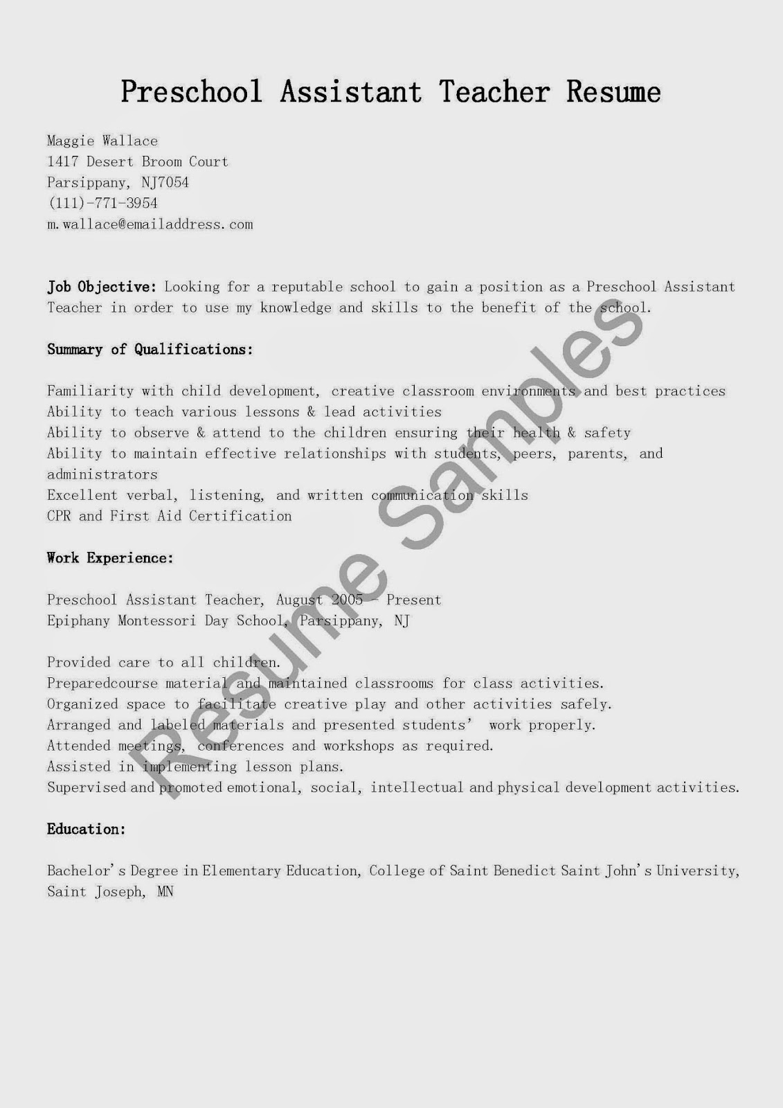 Resume Samples Preschool Assistant Teacher Sample