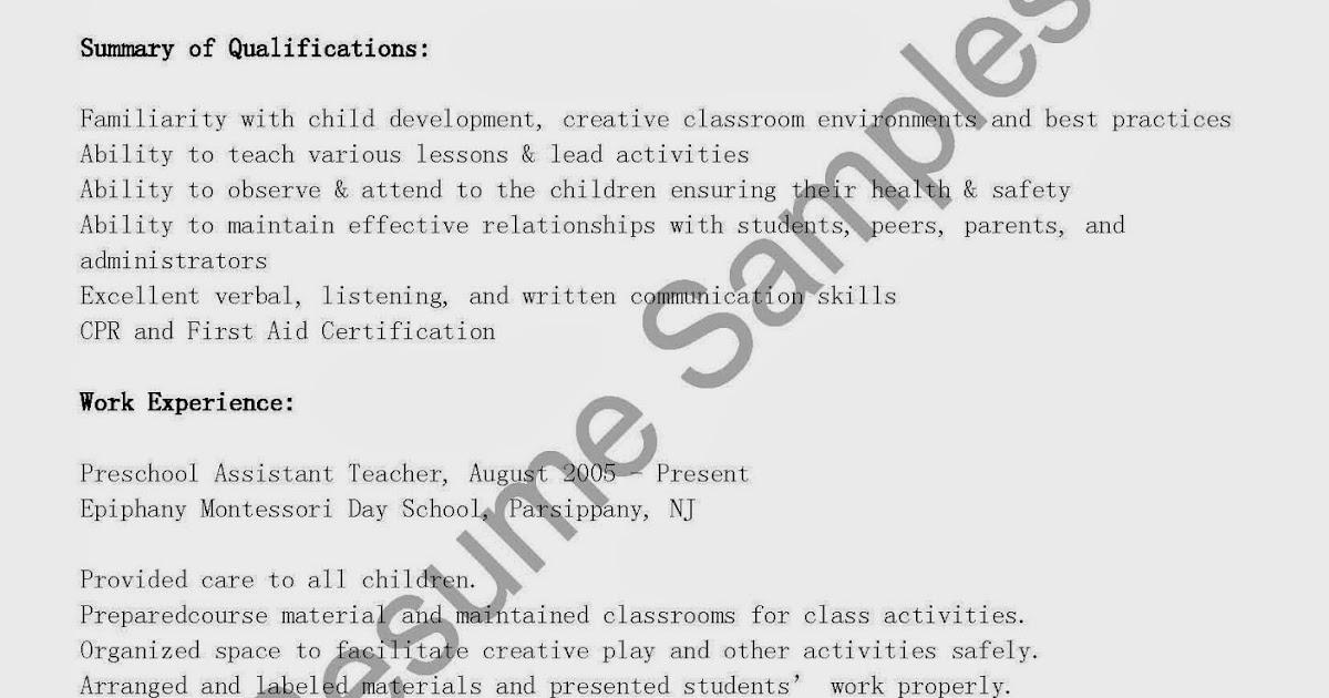 Resume Samples: Preschool Assistant Teacher Resume Sample