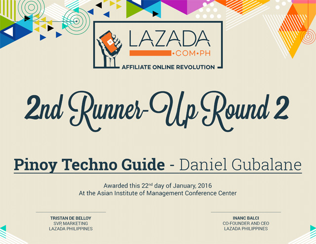 Lazada Affiliate Contest Winner Certificate