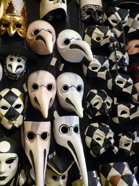 Scary collection of plague doctor masks at Ca Del Sole