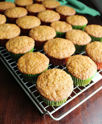 carrot cake cupcakes on wire cooling rack