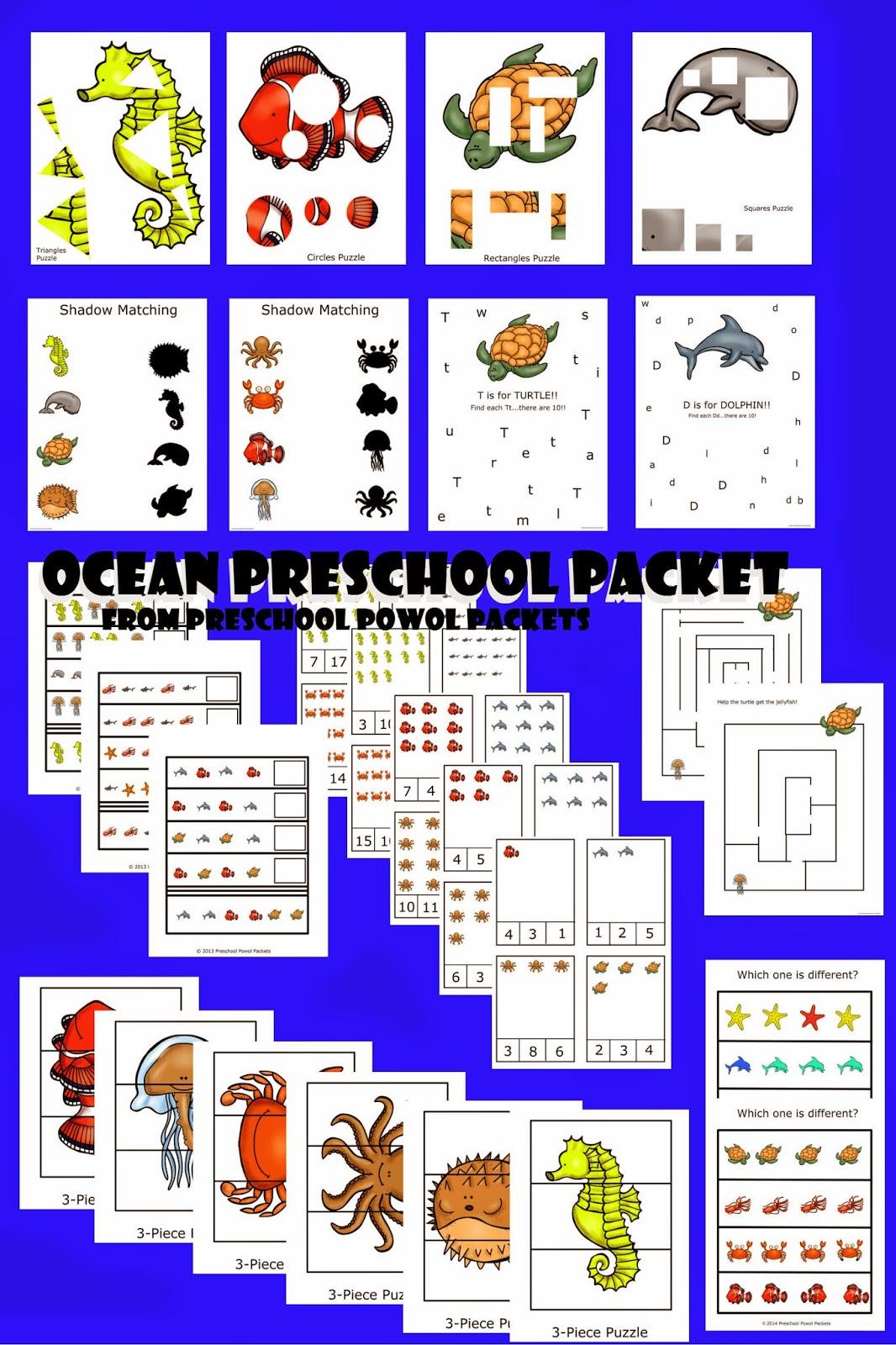 Ocean Preschool Packet 3 Day Freebie