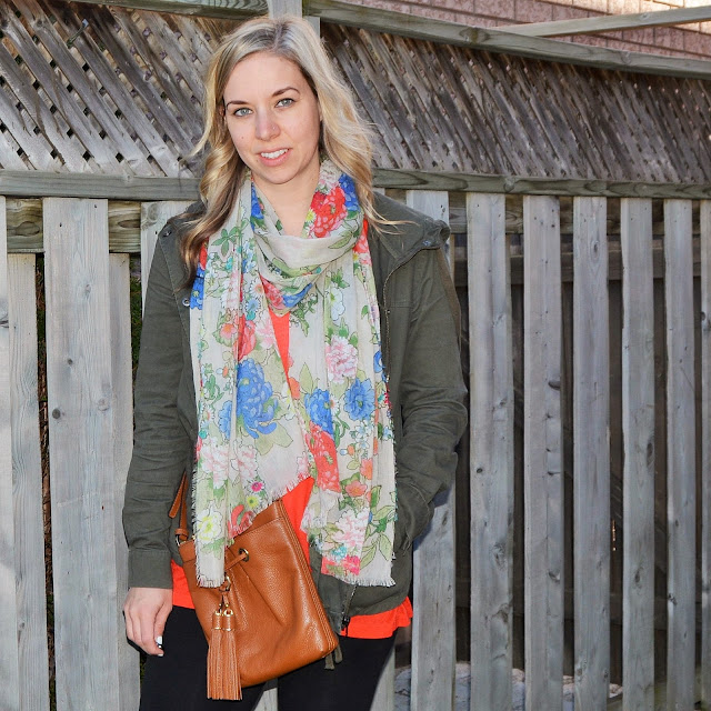 floral scarf and military jacket spring
