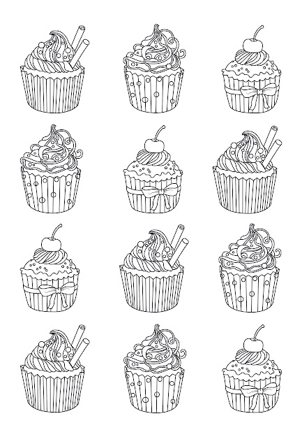 Advanced Coloring Pages Adults Cup Cakes