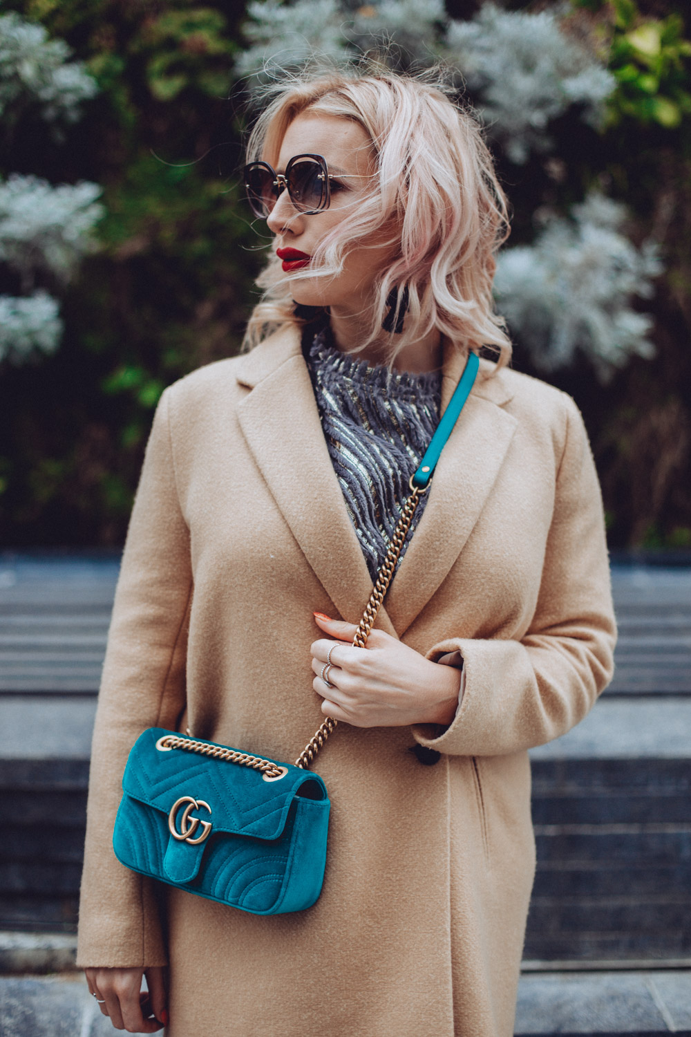 Zara camel coat and Gucci GG Marmont velvet, fashion blogger