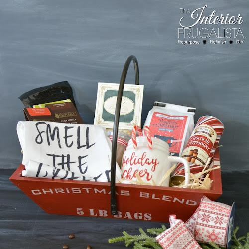 Upcycled Basket Hot Beverage Holiday Hostess Gift