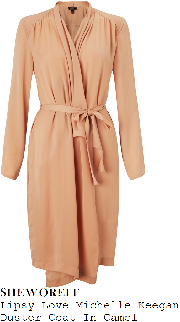 brooke-vincent-lipsy-love-michelle-keegan-camel-nude-long-sleeve-draped-front-duster-coat
