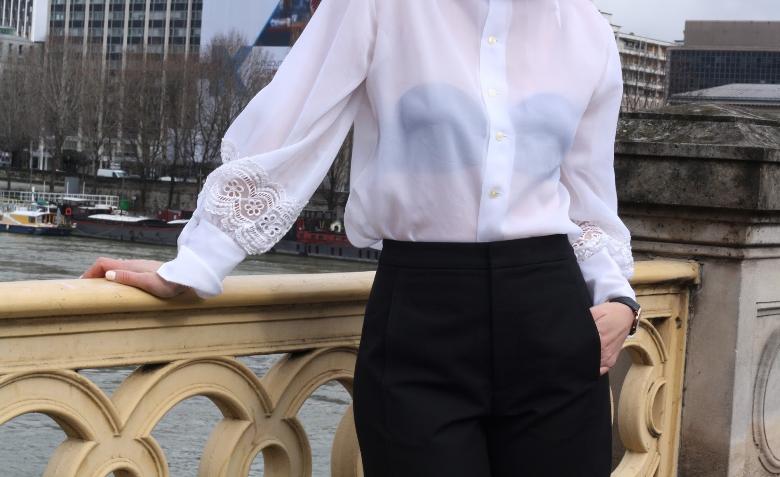 Romantic white blouse and black culottes