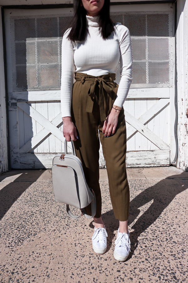 Paperbag waist cropped pants trousers for spring