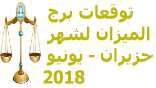 توقعات برج الميزان لشهر حزيران - يونيو 2018