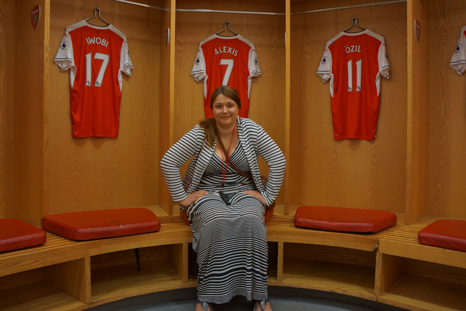 sitting in Arsenal Stadium changing room