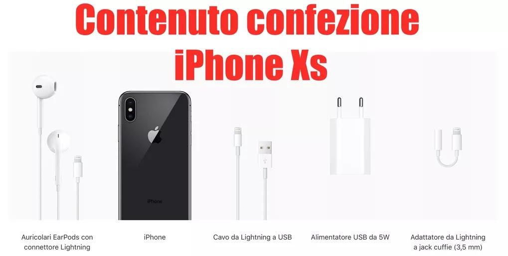 cosa c'è nella scatola di iphone xs, elenco accessori
