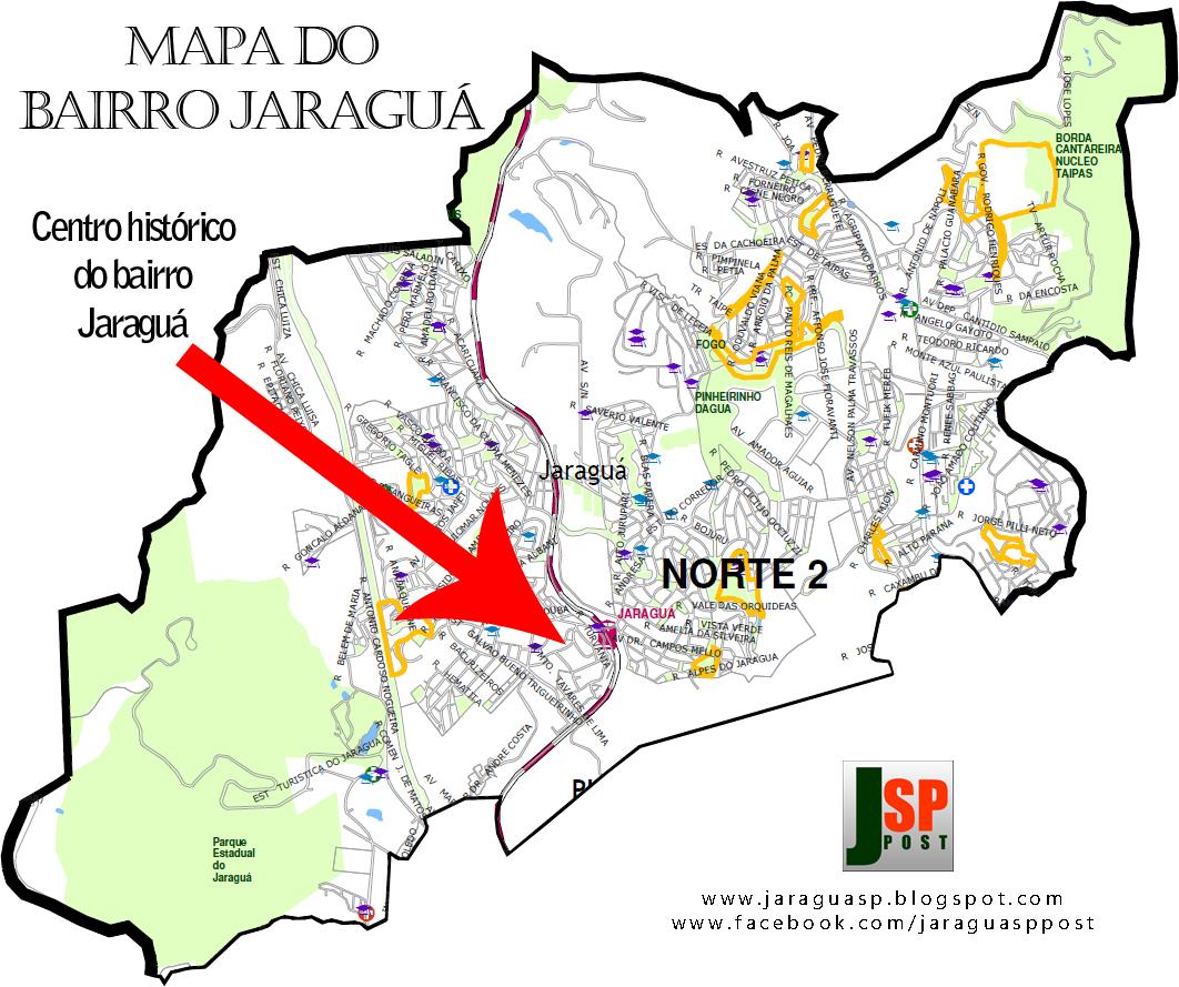 Posição do Centro histórico dentro do bairro Jaraguá