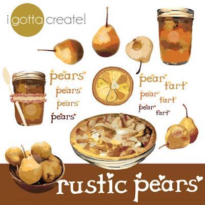 Rustic Pear clip art by I Gotta Create!