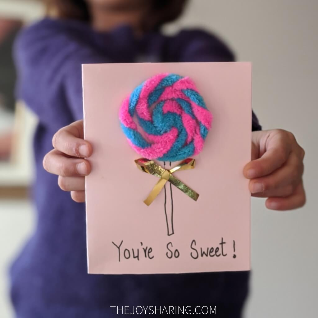 easy pipe cleaner crafts step by step instructions to make lollipop card