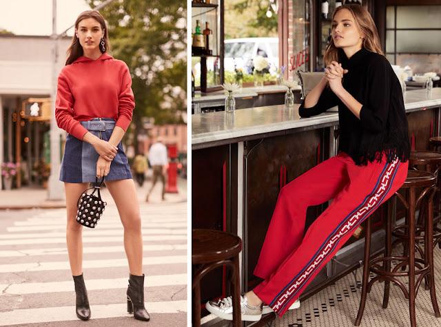 Красный свитшот и брюки с лампасом
