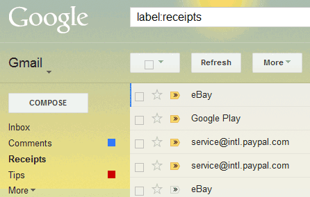 google all your gmail receipt