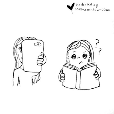 Head Stuck in Phone Cartoon vs Girl with Head in Book Cartoon