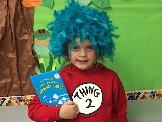 A student dressed as thing 2