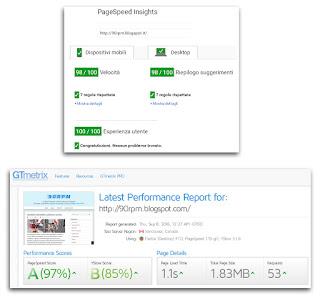 I nuovi punteggi di performance e interfaccia utente raggiunti dal sito