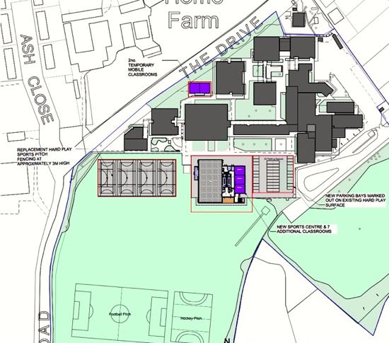 Proposed location plan of new Sports Centre and General Teaching Block Image courtesy of Chancellor's School