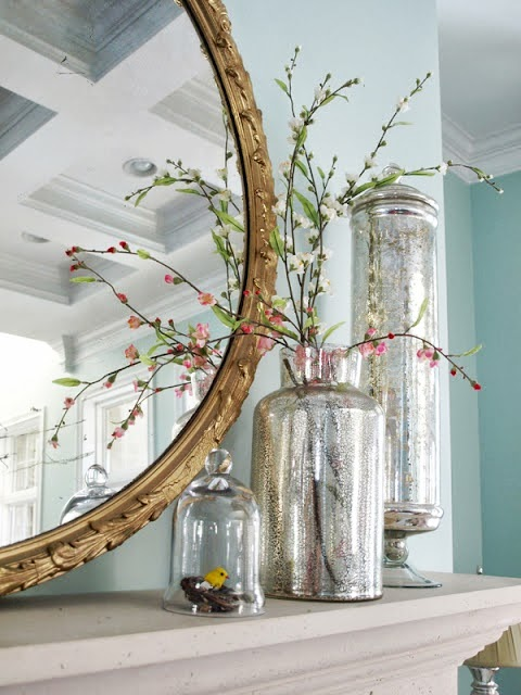 lovely and easy spring decoration with pink blooming branches