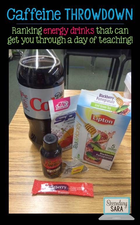 Teachers need caffeine; it's just a fact of life! I'm not a coffee drinker, so I've always looked for alternative, somewhat healthy ways to consume caffeine. This Caffeine Throwdown post gives you several ideas for non-coffee caffeine drinks to help you make it through a school day!