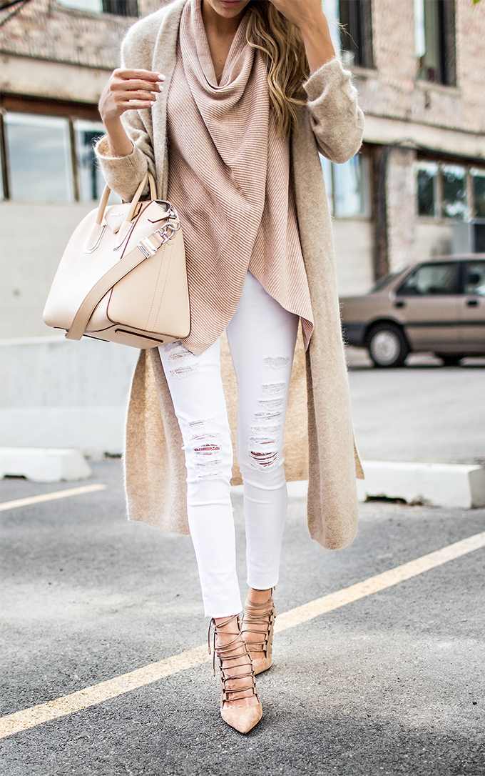 Hello Fashion Winter Nude Neutrals + Givenchy Bag + Aquazzura Lace Up Heels