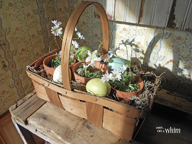 Thrifted Basket Spring Planter | Denise on a Whim