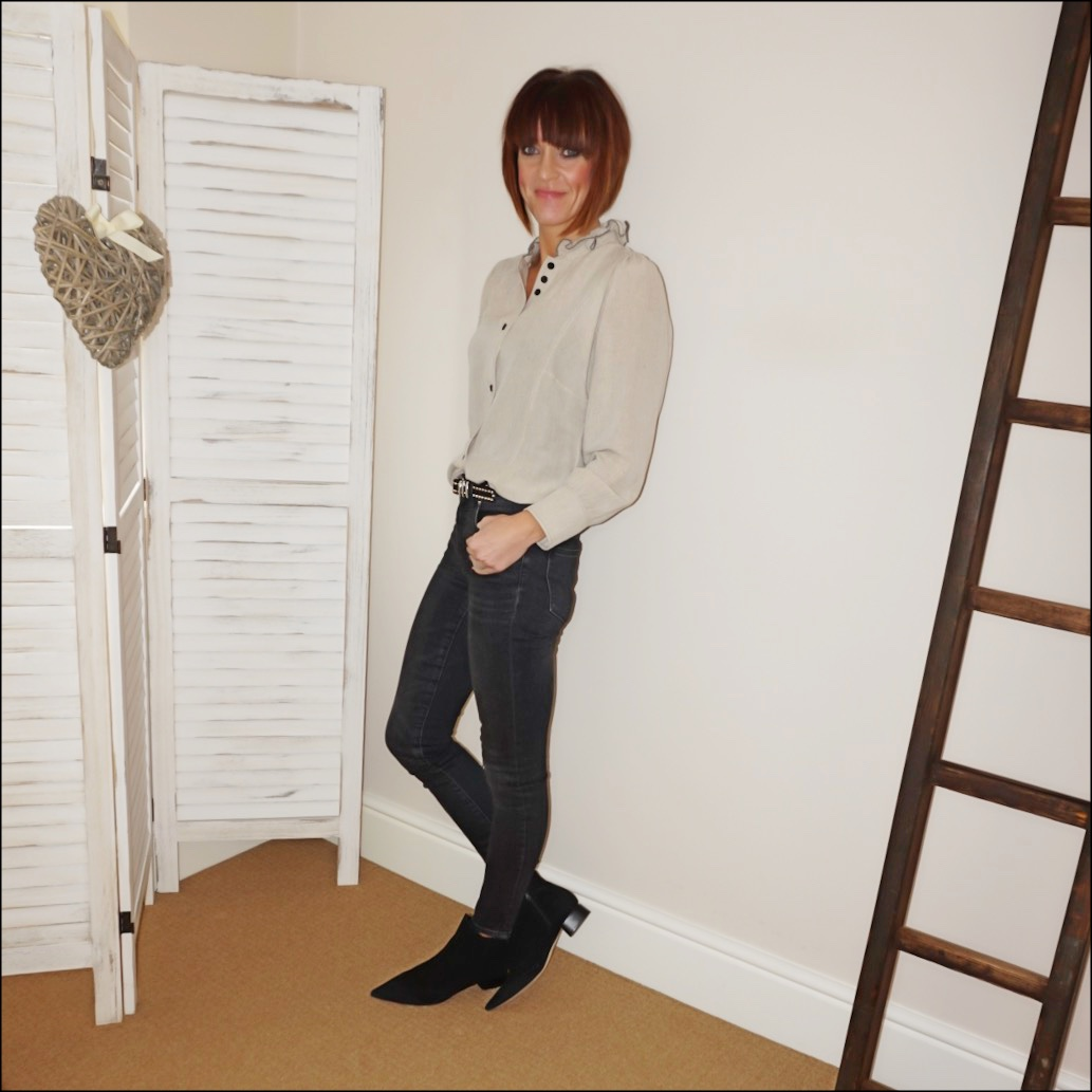 my midlife fashion, isabel marant etoile ruffle blouse, find ark womens ankle boots, the kooples studded leather belt, j crew 9 inch high rise toothpick jean in charcoal wash