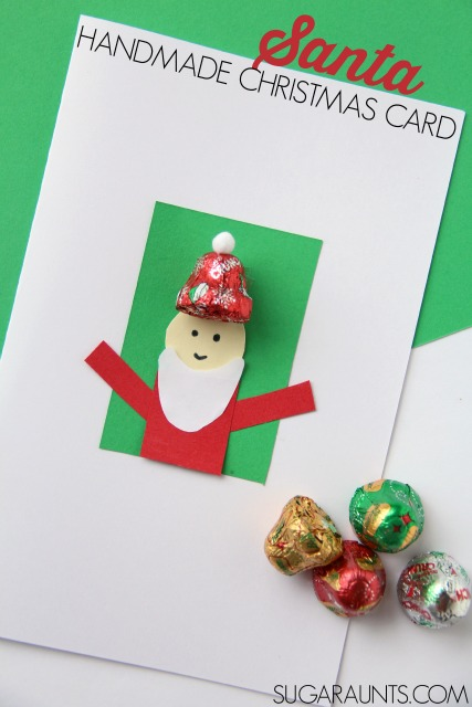 Kids will love to make and give this handmade Santa Christmas card using chocolate bell candy!
