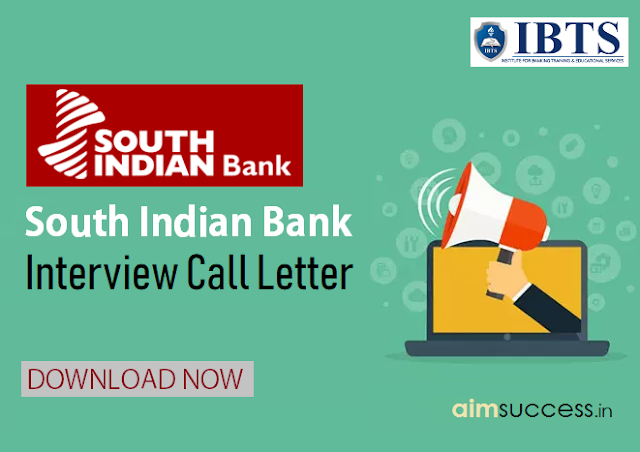 South Indian Bank Interview Call letter 2019