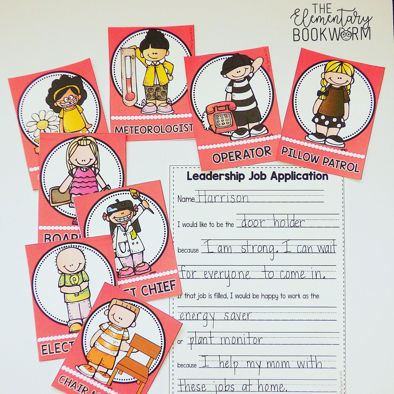Leadership Jobs for Every Classroom   Third Grade Bookworm