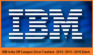 IBM Walkin Drive for Freshers 2015 / 2016 Passout