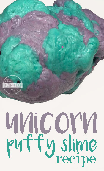 Unicorn Puffy Slime Recipe is an amazing diy slime that is SERIOUSLY fluffy. You can squish, squeeze and rip this easy slime recipe. This is such a fun kids activity.