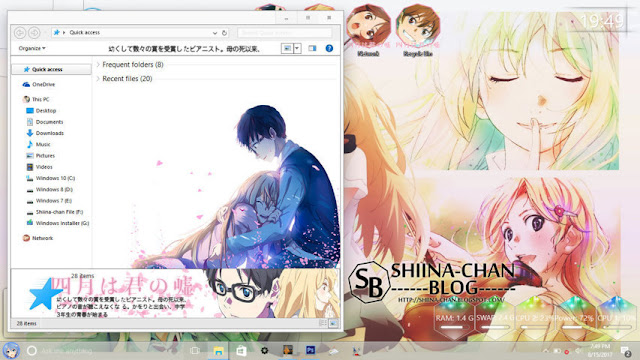 Windows 10 Ver. 1607 Theme Shigatsu wa kimi no Uso by Enji Riz