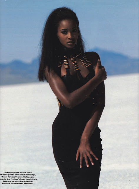 Beverly Peele. Photographer and date unknown. Possibly 1992. Desert, desolate, Gianni Versace dress, black dress, supernatural, stark, Valentino