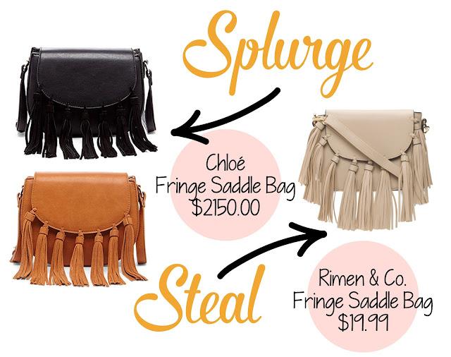 Fringe Bag Dupes, Chloe bag dupes, designer bag dupes, looks for less, splurge vs. steal
