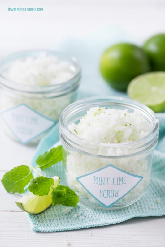 Peeling selber machen Zuckerpeeling DIY Limette Minze