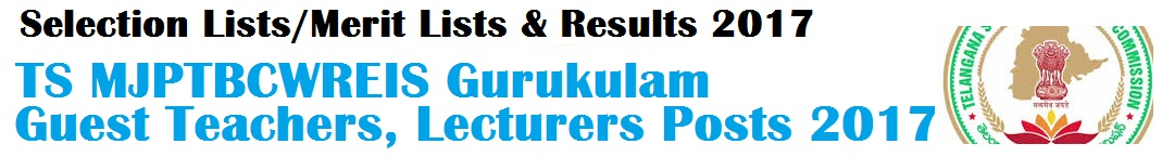 TS Gurukulam Guest Teachers,Lecturers Recruitment 2017-Provisional Selection Lists,Results