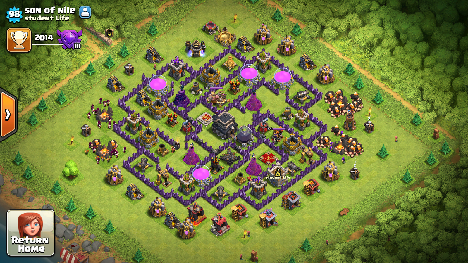 Th9 Home Base Design Part - 27: TH9 Defensive Base Anti With Dragons
