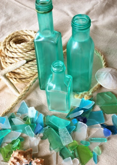 DIY seaglass bottles